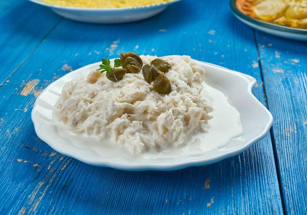 Baccala Mantecato alla veneziana ,Cod in the Venetian style. Italian Cuisine.