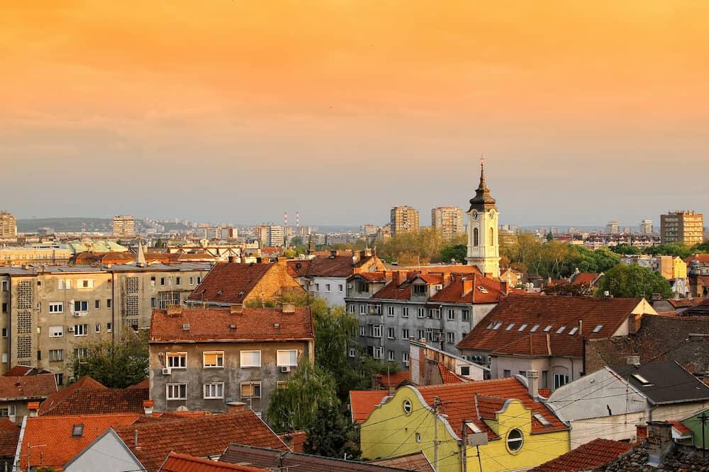 Panoramic view of Zemun rooftops in Belgrade,Serbia