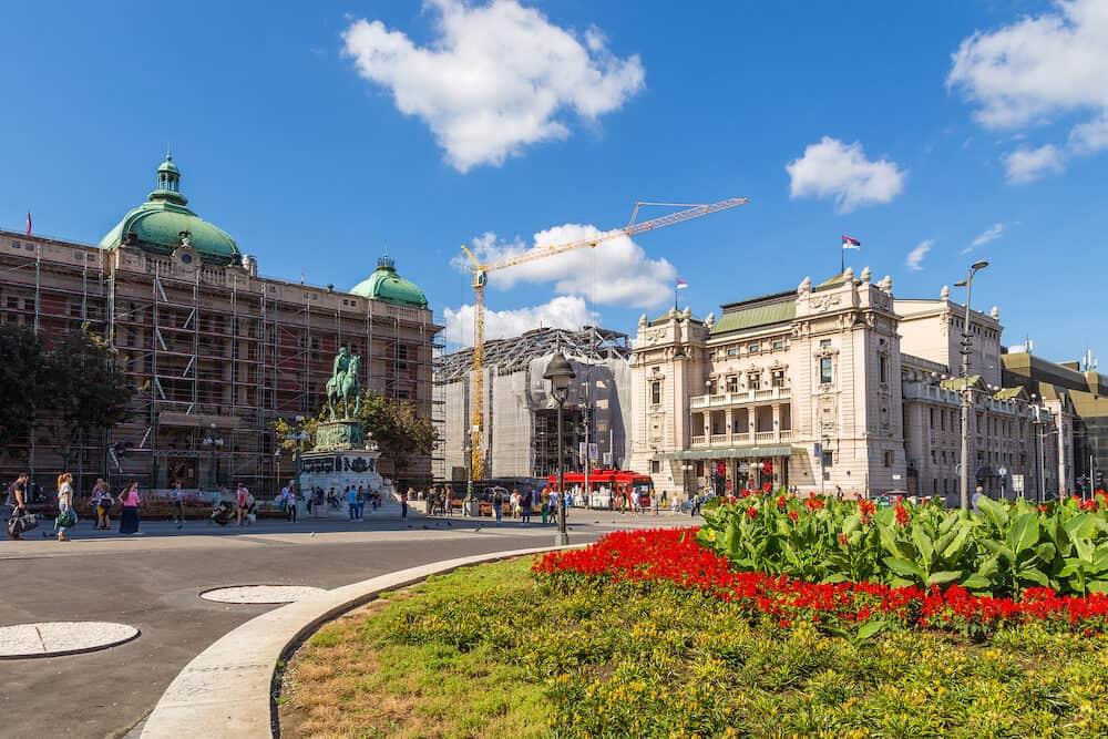 Belgrade, Serbia- Republic Square in Belgrade. Historic square located in the Old Town.