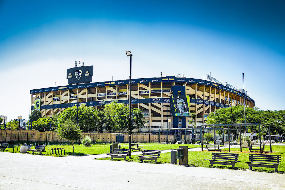 """Buenos Aires Argentina - : Boca Juniors team stadium also known as """"La Bombonera"""" hosts one of Argentina most famed club & has a capacity of 49000 people. Bueno Aires. Argentina."""