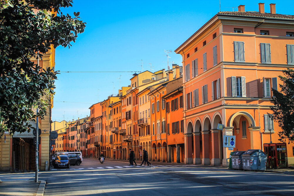Beautiful architecture of the ancient Italian city of Bologna.