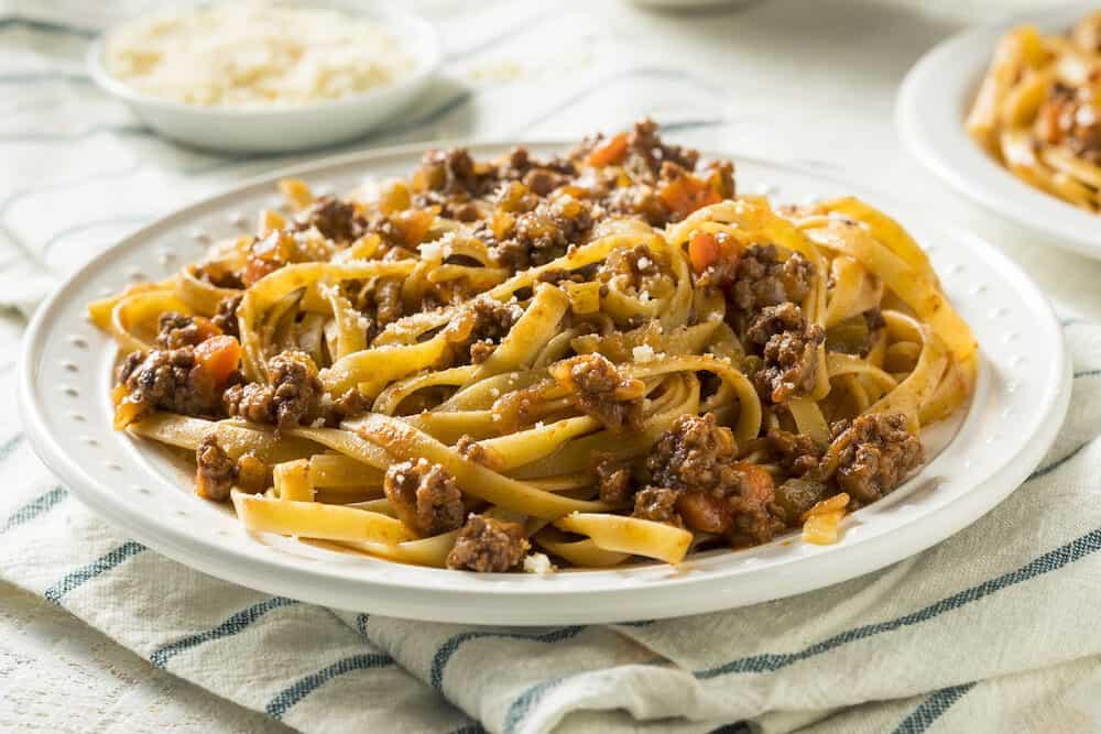 Homemade Italian Ragu Sauce and Pasta with Cheese