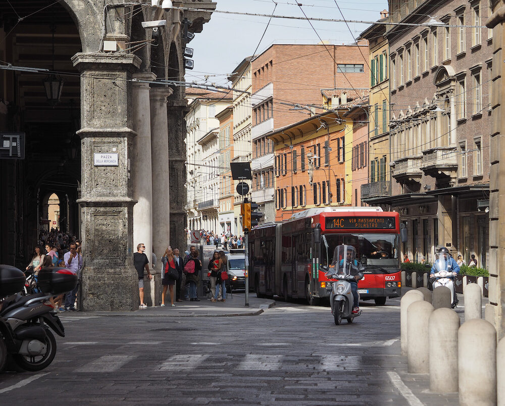 BOLOGNA ITALY - Red bus public transport in the city centre
