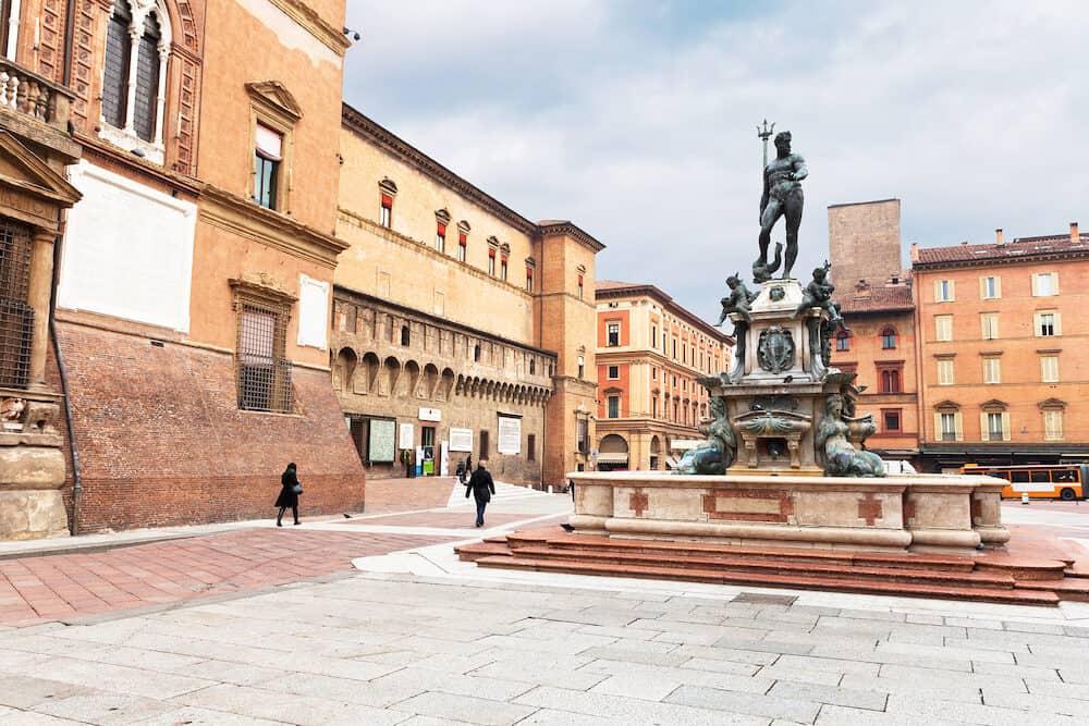 view on Sala Borsa and Fountain of Neptune on Piazza del Nettuno in Bologna Italy in autumn day