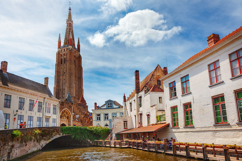 Canals of Bruges (Brugge). Church of Our Lady, Onze Lieve Vrouw Brugge