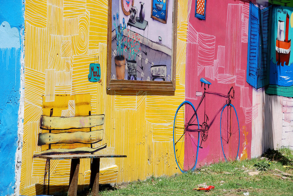 BUENOS AIRES Street art in La Boca neighborhoods in Buenos Aires. The walls of the Argentine city enlivened by murals, whimsical painted figures, graffiti and stencils