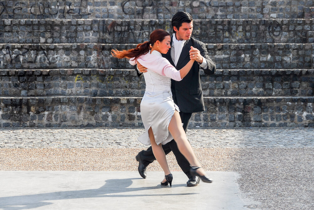 BUENOS AIRES ARGENTINA - Tango Dancers in the street of La Boca Buenos Aires Argentina.