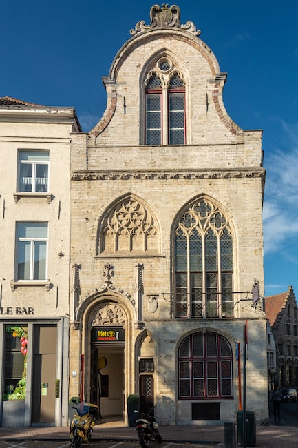 Bruges, Belgium - The Friet Museum (french fries museum) gives visitors a chance to sample fried potatoes and various complementary sauce.
