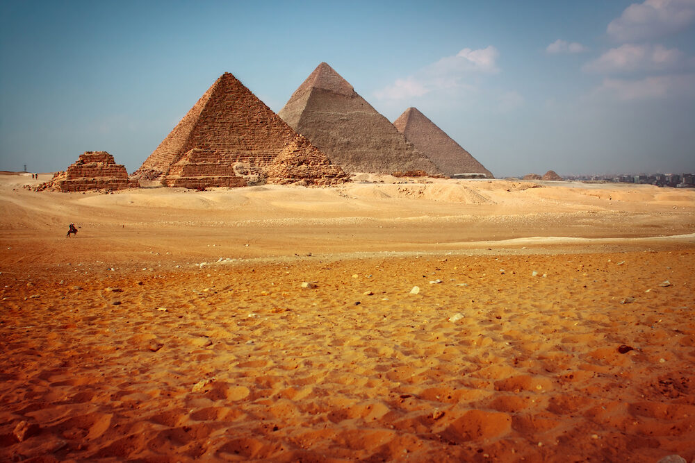 Giza valley with Great pyramids. Egypt