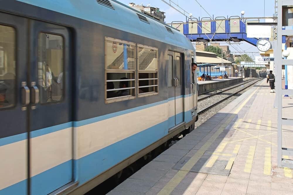 CAIRO EGYPT - MARCH 01: Metro Train at Platform in Cairo. Metro Platform Overground Rapid Transport in Cairo Egypt.