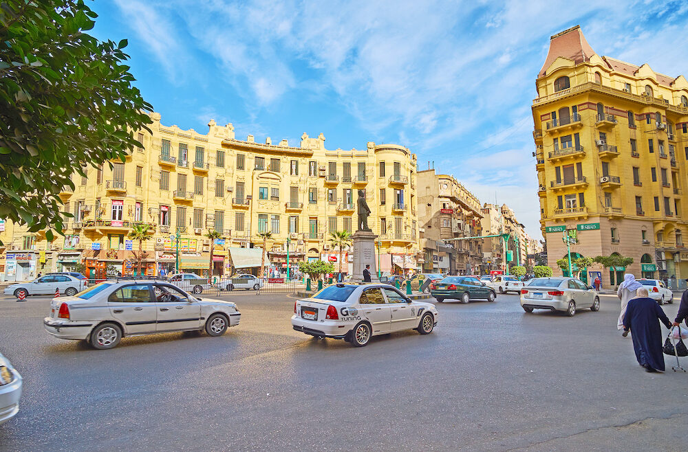 CAIRO, EGYPT - Talaat Harb square with its fast traffic, European architecture, numerous stores, hotels and restaurants, on Cairo.