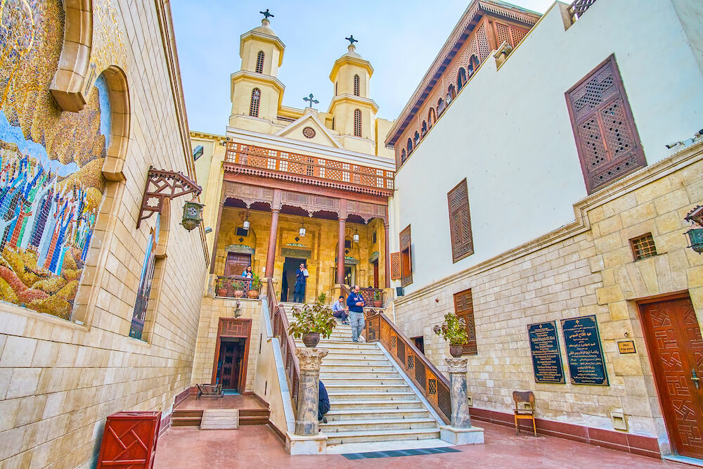 CAIRO, EGYPT - : The Hanging Church is the main christian landmark of the Coptic neighborhood, and the oldest church in the city, in Cairo