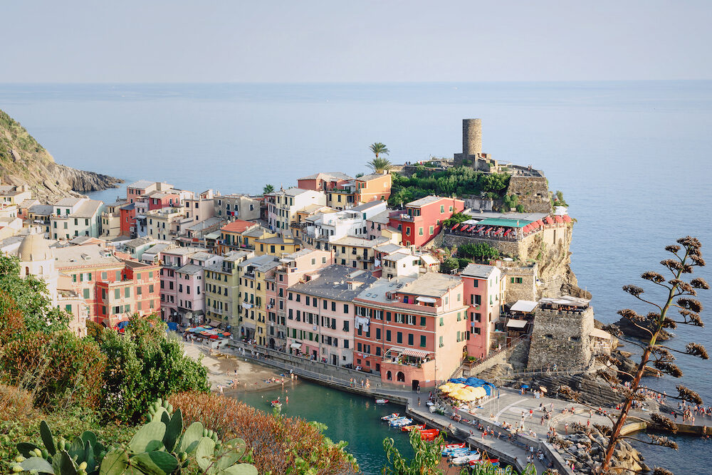 Vernazza, Italy, Specia Province, Liguria Regione, View on the colorful houses. Top view of Vernazza, the fishing port and the castle of Doria on the rock