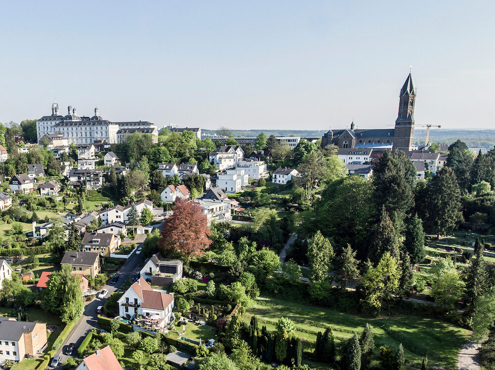 Aerial View Schloss Bensberg and public surroundings Berglisch Gladbach Germany near bycologne