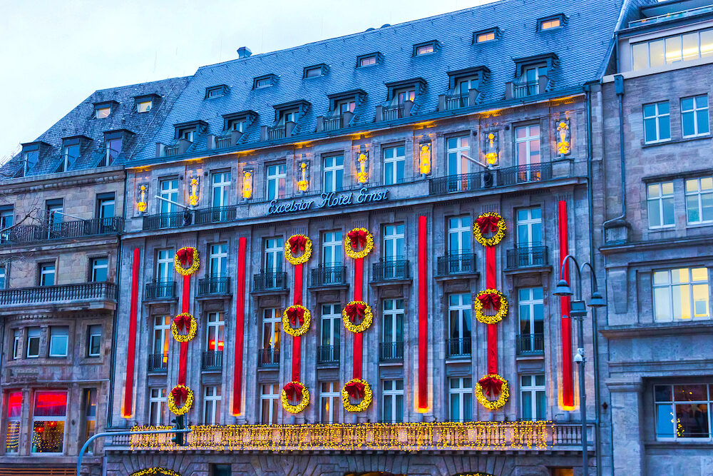 Cologne, Germany - Christmas decoration on the facade of the Excelsior Hotel Ernst at Cologne, Germany