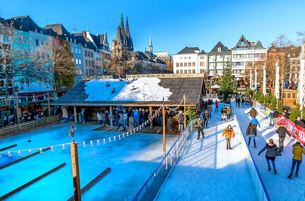 COLOGNE, GERMANY-Cologne, Germany - Christmas market in the Old Town. In this fairy-tale atmosphere, a unique skating rink fits into the Heumarkt (Hay Market).