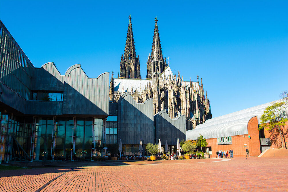 Cologne, Germany - Landscape of square near Museum Ludwig and Cologne Cathedral