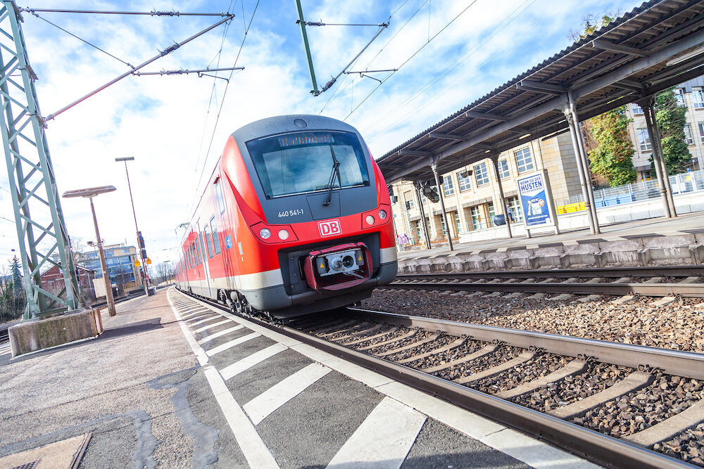 FUERTH / GERMANY - RE Regional Express train from Deutsche Bahn passes train station fuerth in germany.