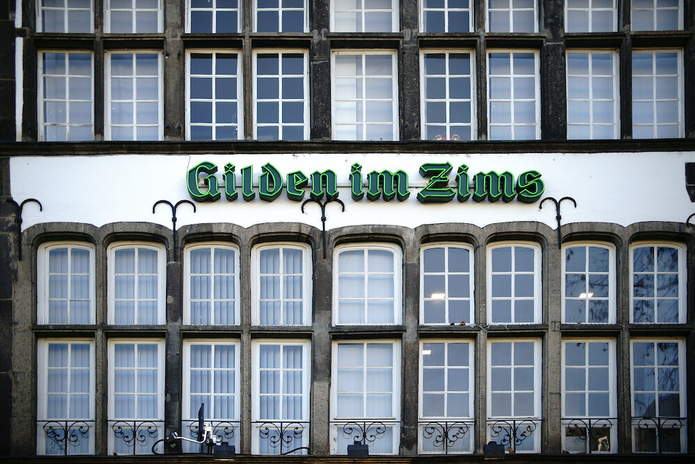 COLOGNE, GERMANY - The facade of the brew house Guild in the Zims protected as a monument am the Heumarkt in Cologne.