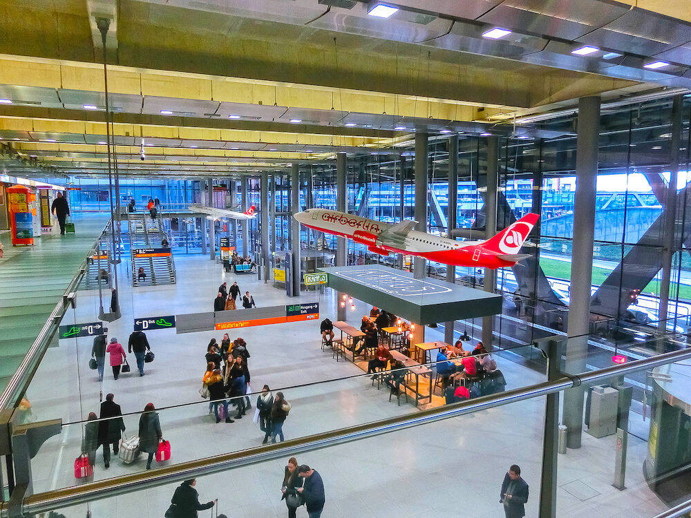 Cologne, Germany - : The people going at Cologne Bonn Airport at Cologne, Germany
