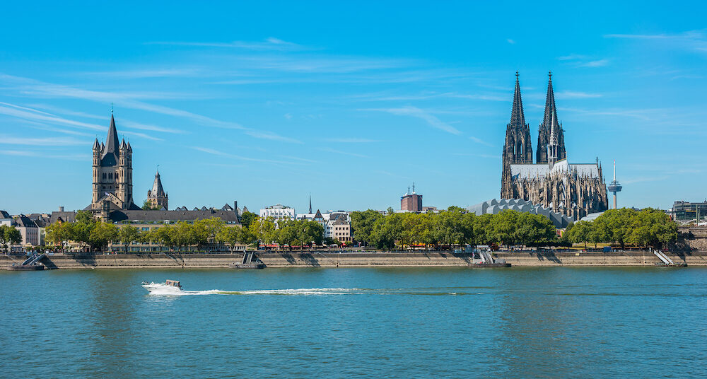 View from the rhine boulevard to the old town with cologne cathedral at summer. ideal for websites and magazines layouts