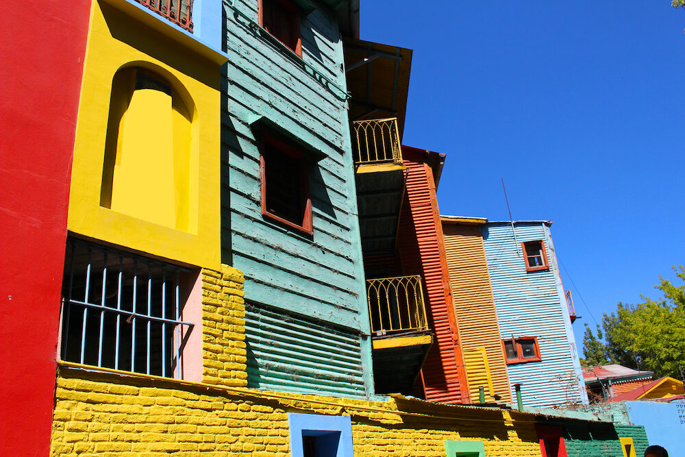 Colorful buildings along the street of El Caminito located in La Boca in Buenos Aires, Argentina in South America