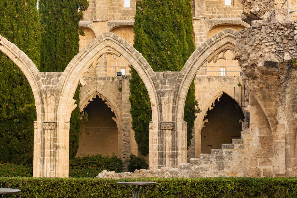 Ruins of the Abbey of Bellapais in the Northern Cyprus. Bellapais Abbey is the ruin of a monastery built in the 13th century near the Kyrenia.