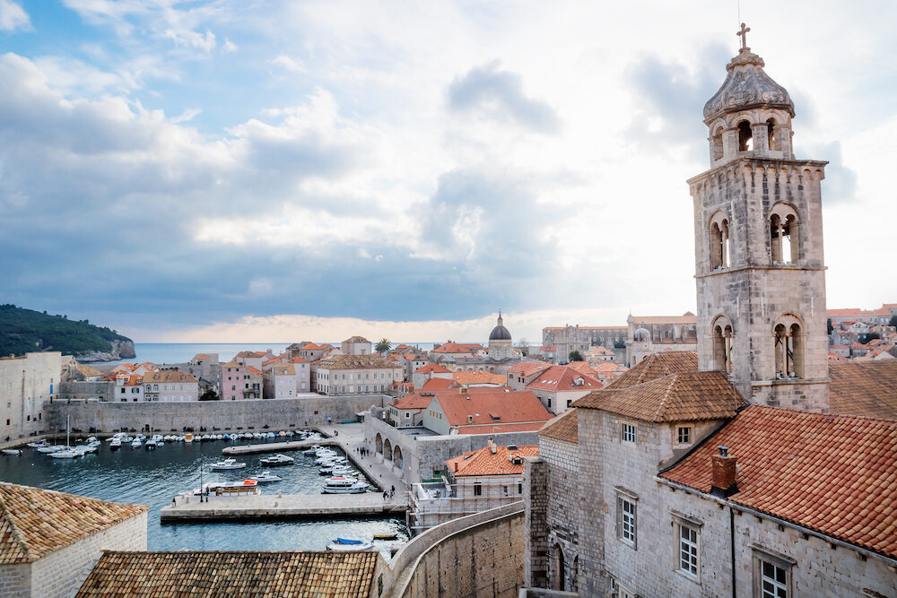 Bell tower of the Dominican Monastery with city and sea view in Dubrovnik, Croatia