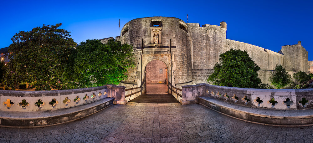 Dubrovnik Pile Gate and Draw Bridge in the Morning Dubrovnik Croatia
