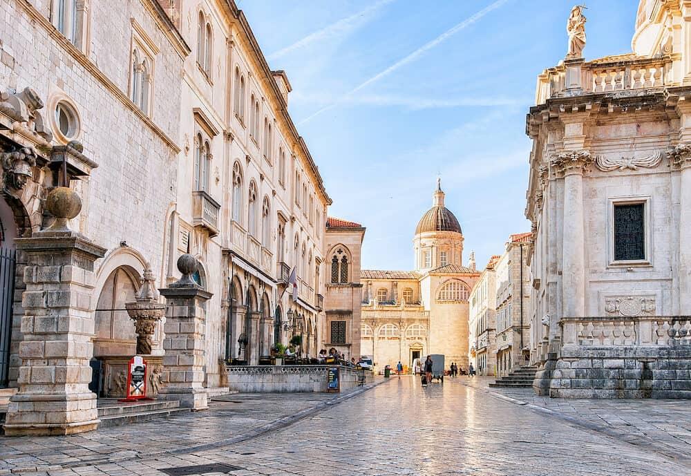 Dubrovnik Croatia - People at Dubrovnik Cathedral in the Old city of Dubrovnik Croatia