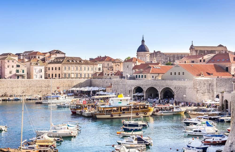 DUBROVNIK, CROATIA - People visiting amazing old town in Dubrovnik, Croatia