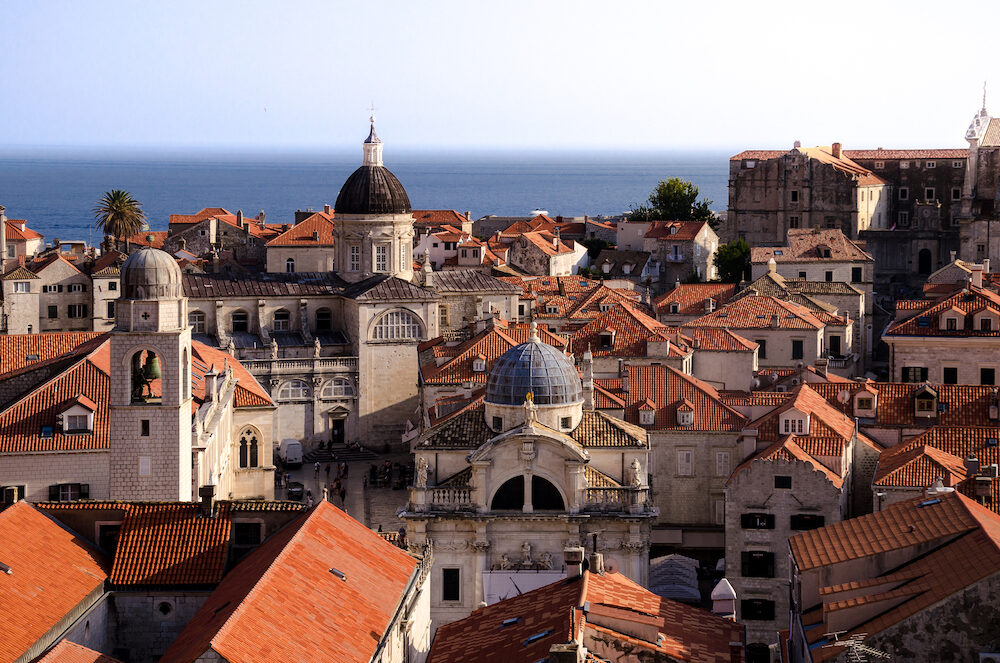 aerial view of dubrovnik churches from the city walls. unesco, game of thrones.