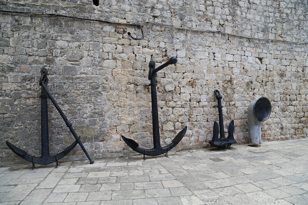 DUBROVNIK, CROATIA - It is a collection of sea anchors at the Maritime Museum in the Fort of St. John.