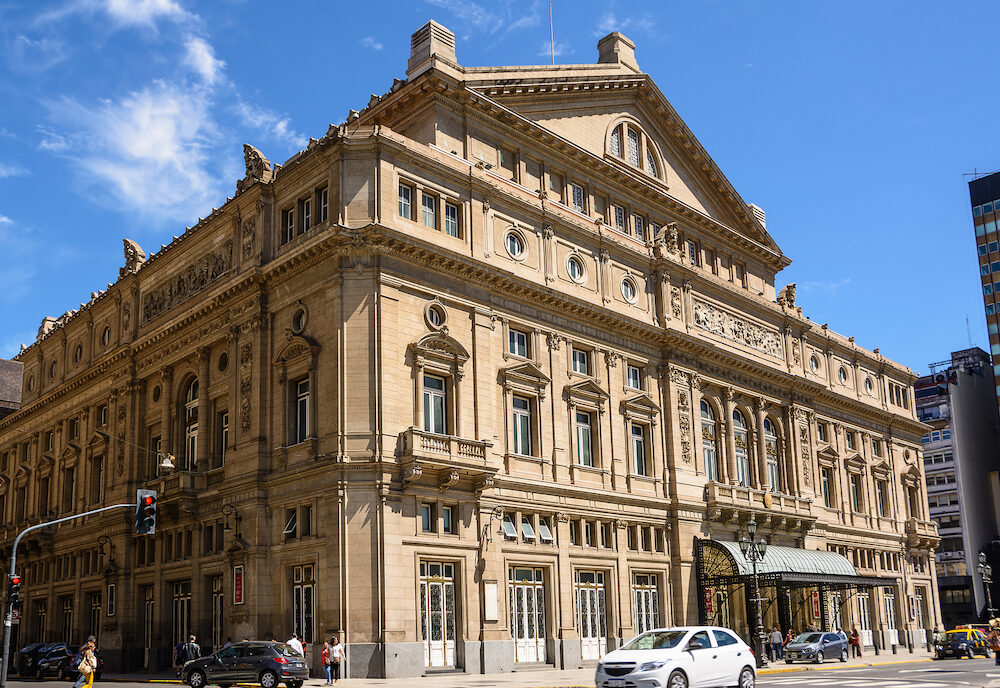 Buonos Aires, Argentina - Facade of the Teatro Colon in Buenos Aires and traffic in the street
