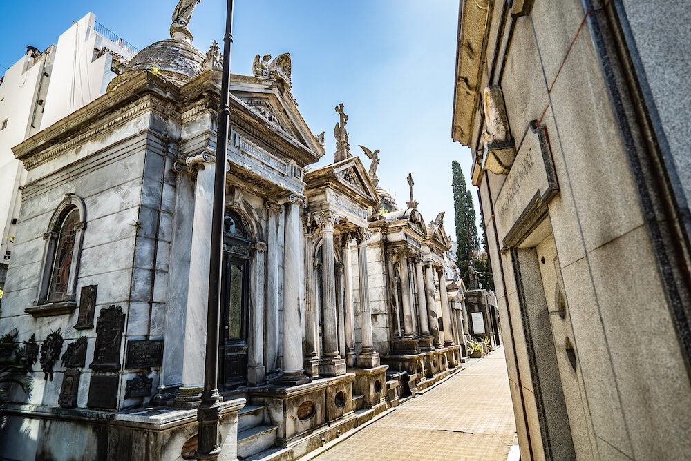Buenos Aires, Argentina - : Famous La Recoleta Cemetery in Buenos Aires that contains the graves of notable people, including Eva Peron, presidents of Argentina, Nobel Prize winners