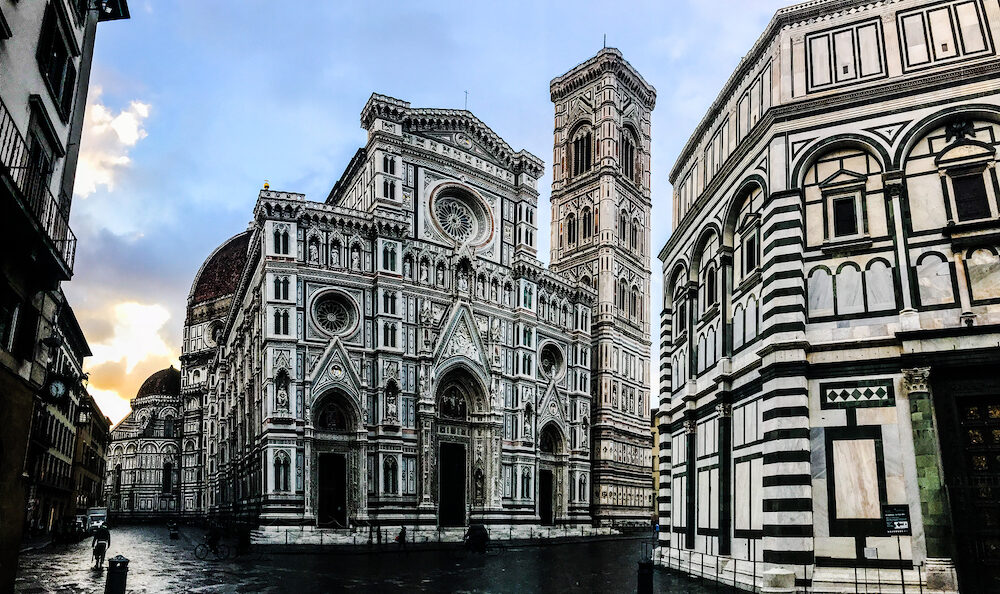 Italy, Florence, Cathedral of Saint Mary of Flower, (Duomo di Firenze) and Giotto's Campanile of Florence Cathedral