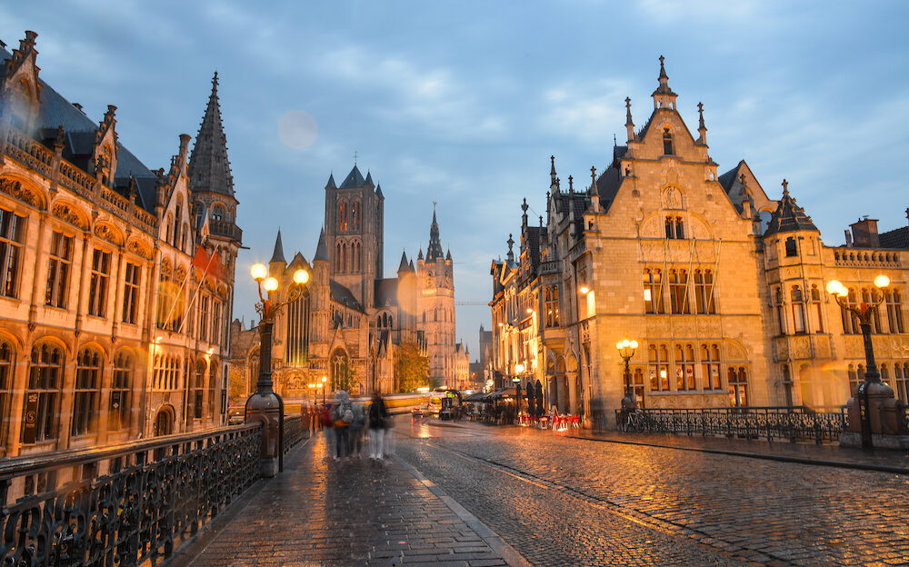 Ghent, Belgium - Night scene of Historic Center of Ghent, Belgium. Ghent is one of Europe most underrated, if not unknown, medieval cities.