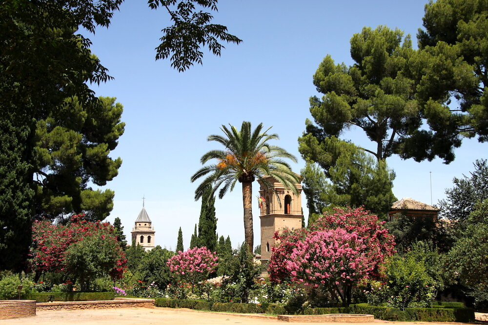 GRANADA, SPAIN - Architectural and Park complex of the Alhambra in Granada Alhambra is the last Moorish Moslem Palace that was conquered by King Ferdinand and Queen Isabella in 1492.