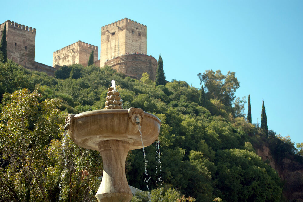 Source of the sad walk to the Alhambra in Granada background