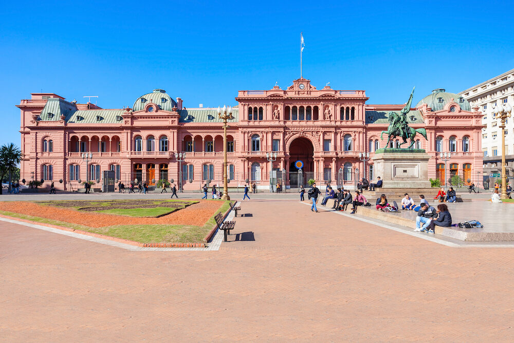 BUENOS AIRES ARGENTINA - La Casa Rosada or The Pink House is the executive mansion and office of the President of Argentina located in Buenos Aires Argentina.