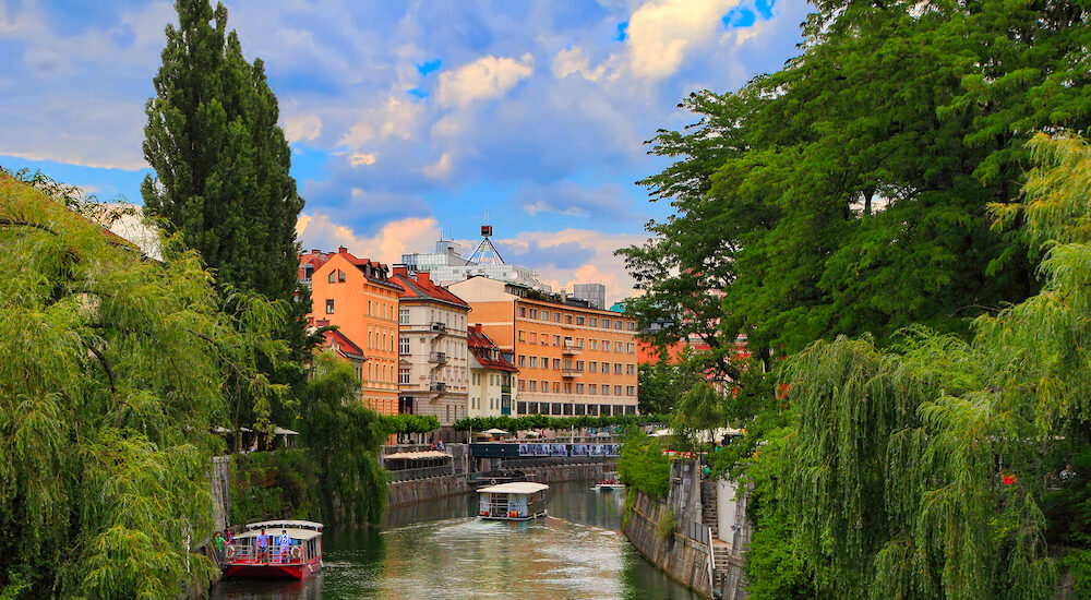 LJUBLJANA, SLOVENIA - Ljubljana -Slovenia - city centre, view on the river. Ljubljana is the business and cultural center of the country.