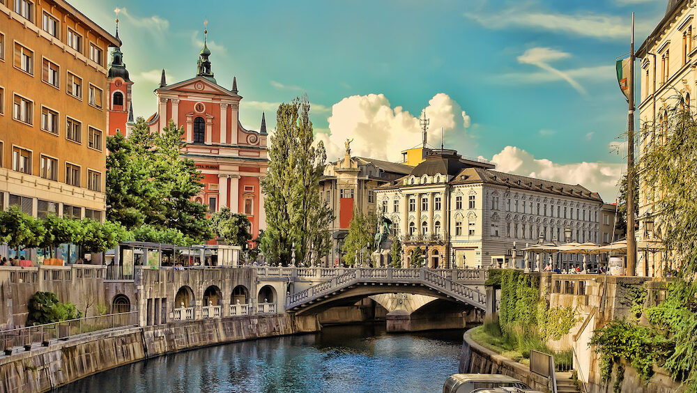 LJUBLJANA, SLOVENIA - : Old town embankment in Ljubljana. Ljubljana is the business and cultural center of the country.
