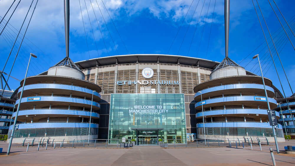 MANCHESTER, UNITED KINGDOM - Manchester City Football Club founded in 1880 in Manchester, UK. which has the Etihad Stadium as its own home ground.