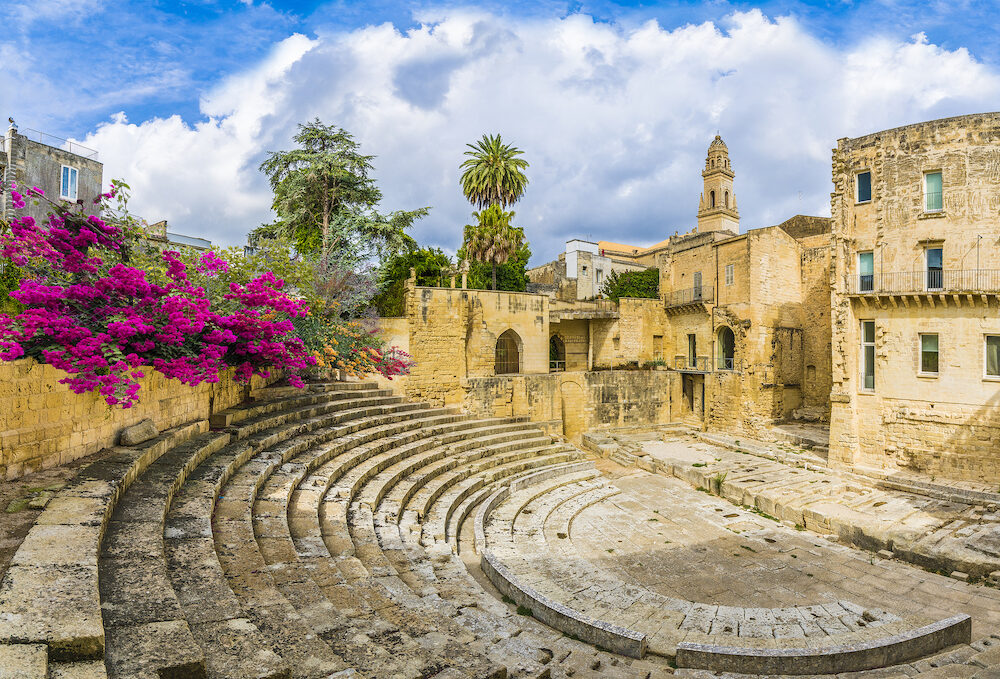 Ancient Roman theater in Lecce, Puglia region, southern Italy