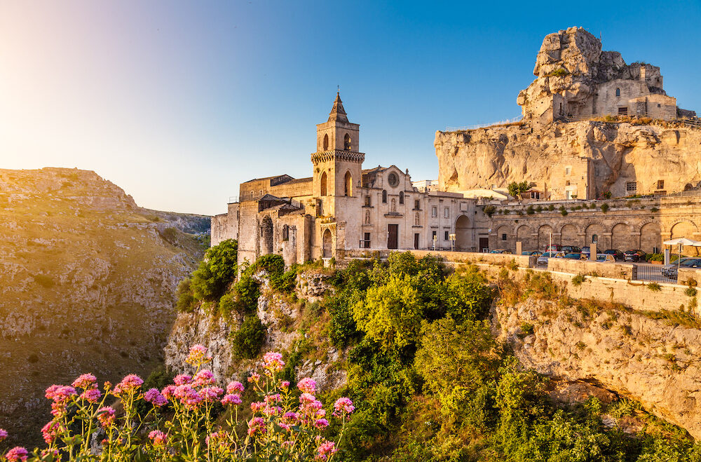 Ancient town of Matera (Sassi di Matera) at sunrise Basilicata southern Italy