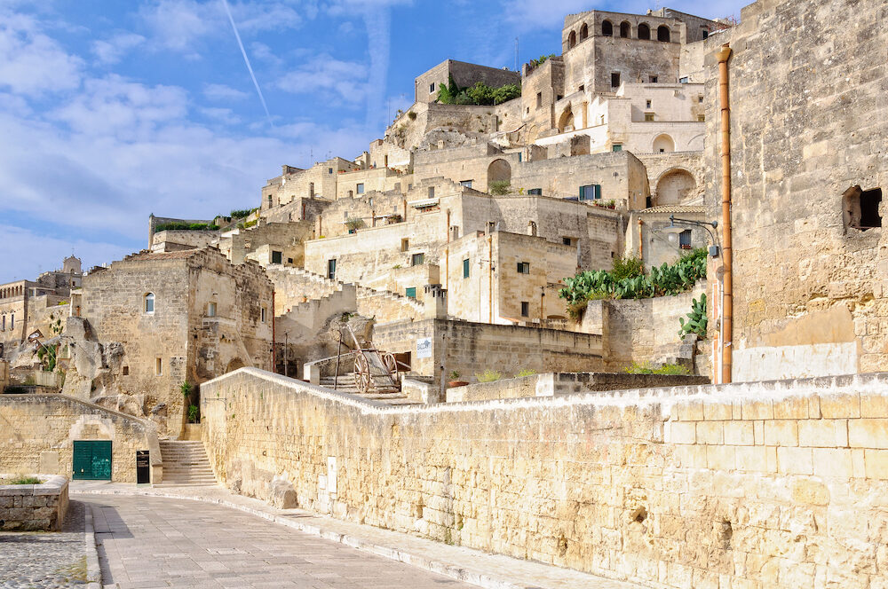 Via Madonna della Virtu runs right along the Gravina at the edge of Sasso Barisano - Matera Basilicata Italy