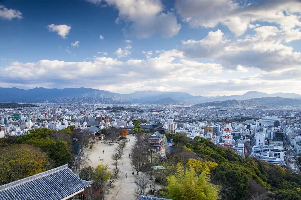 Matsuyama, Japan from Matsuyama Castle.