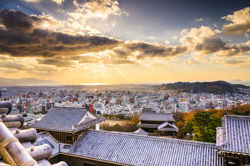 Matsuyama, Japan viewed from the castle.