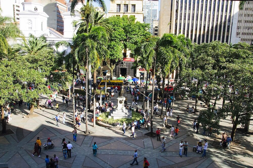 Medellin, Colombia, La Candelaria Church and park de Berrio: View of the city. Medellin is Colombia`s second largest city with a population of 2.5 million