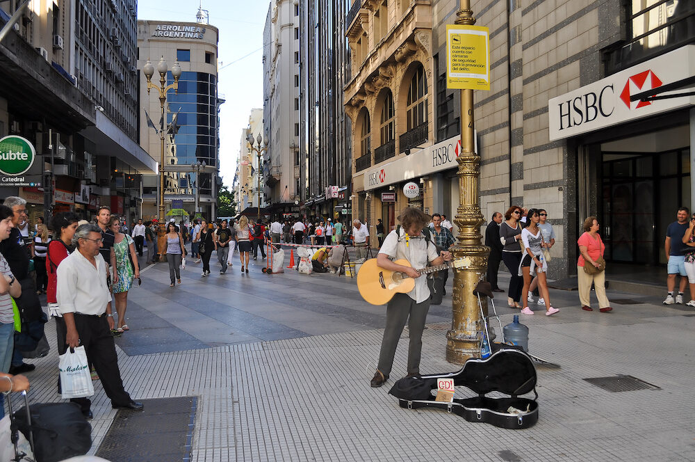 Buenos Aires Argentina- Musician on the Florida Street. Florida Street is an pedestrian shopping street in Downtown Buenos Aires